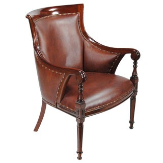 21st Century Leather Regency Chair For Sale