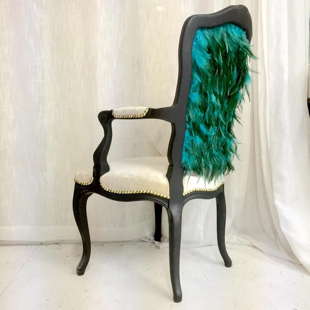 Feather Modern Teal Feather Chair For Sale - Image 7 of 7