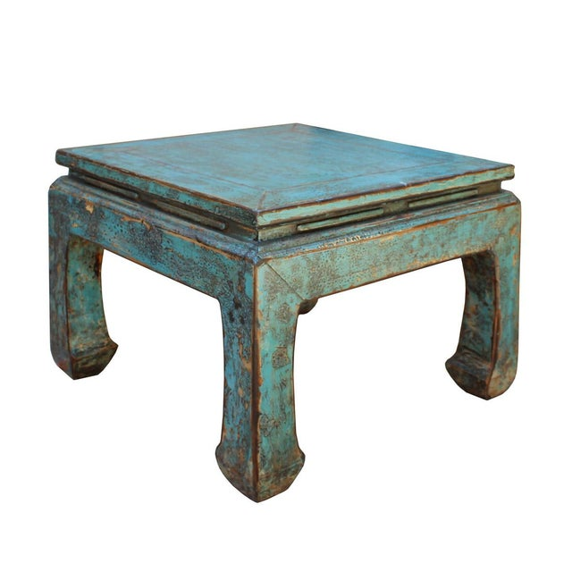 Asian Asian Style Rustic Distressed Blue Square Curved Leg Coffee Table For Sale - Image 3 of 6