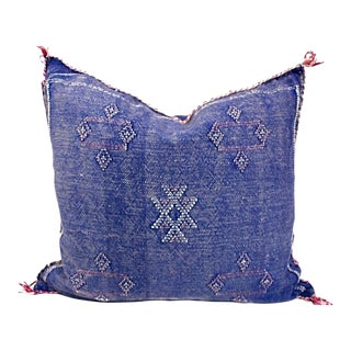 Moroccan Faded Blue Handmade Sabra Silk Pillow For Sale