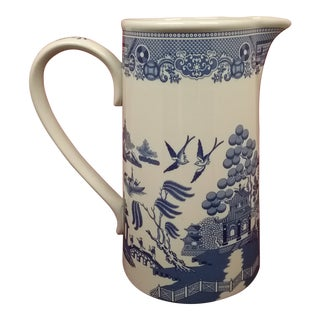 Spode Italian Blue Willow Pitcher, Made in England For Sale
