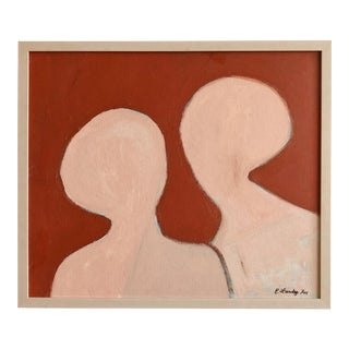 Vintage Abstract Figural Acrylic on Board For Sale
