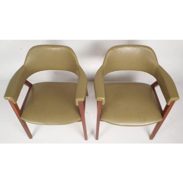 Mid-Century Modern Vinyl Barrel Back Chairs For Sale In New York - Image 6 of 10
