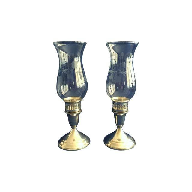 Towle Sterling Silver Hurricane Lamps - A Pair - Image 1 of 9