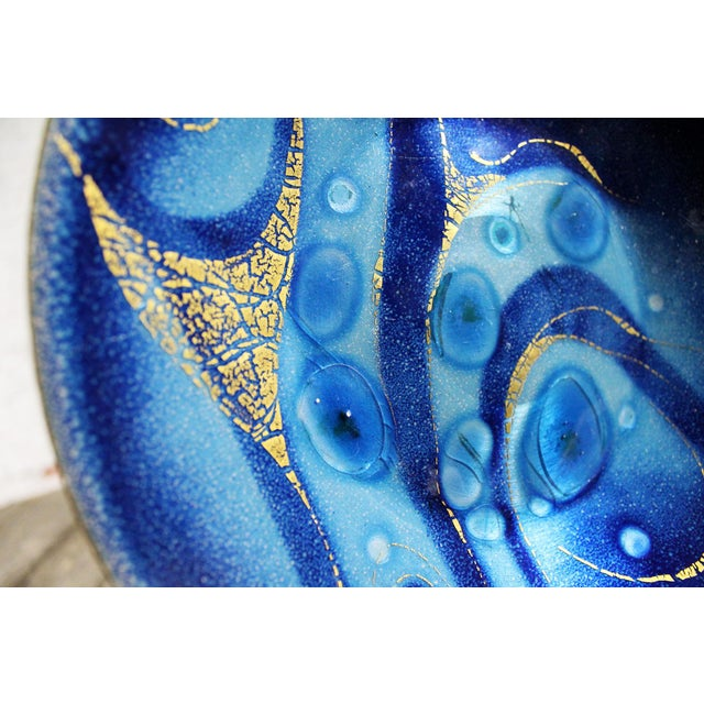 Vintage Mid-Century Sascha Brastoff Royal Blue Enamel Plate For Sale - Image 9 of 11