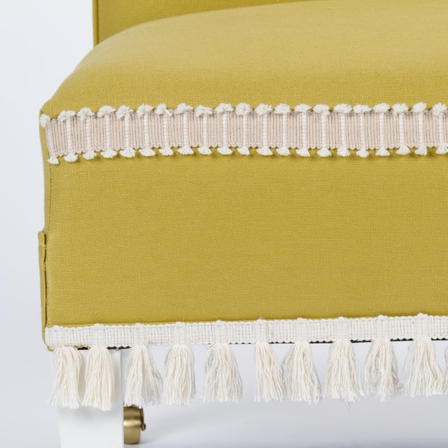 Textile Casa Cosima Sintra Chair in Citron Linen For Sale - Image 7 of 9