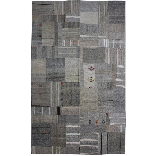 """Hand Knotted Antique Patchwork Kilim - 12'6"""" X 8'3"""" For Sale"""
