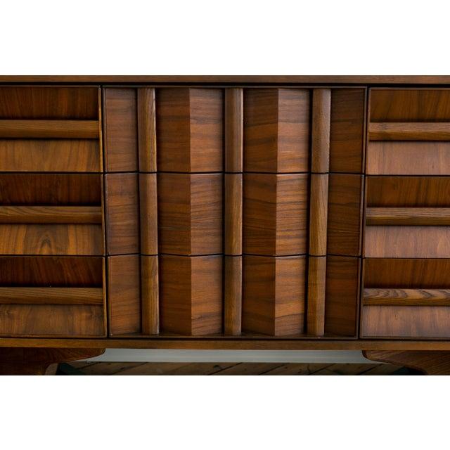 Brutalist Mid-Century Walnut Credenza Dresser - Image 3 of 7
