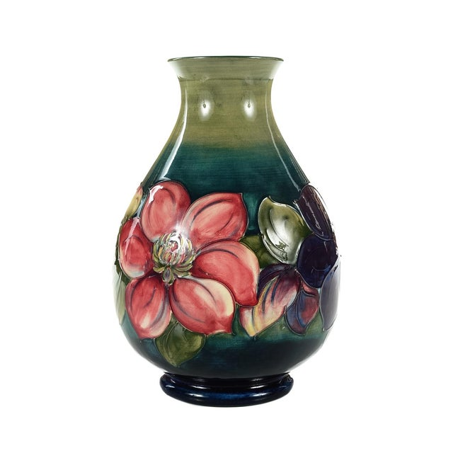 Moorcroft Green & Red Flowers Pottery Art Vase - Image 6 of 7
