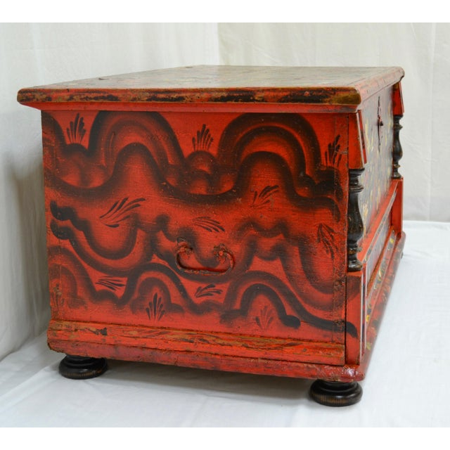 Hungarian Pine Trunk or Blanket Chest in Original Paint For Sale - Image 4 of 13