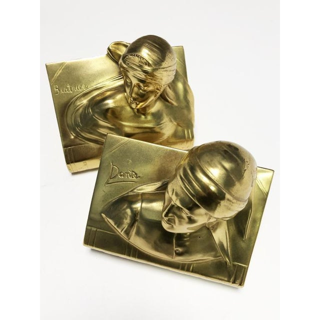 1940s Jennings Bros Dante and Beatrice Golden Bronze Bookends - a Pair For Sale - Image 10 of 10