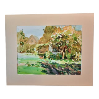 1990's Countryside Watercolor Painting For Sale