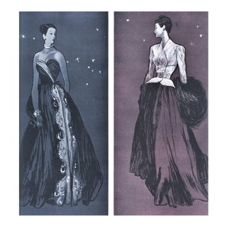 Rare PAIR-Matted Vintage Mid-Century Evening Fashion Print by Gruau For Sale