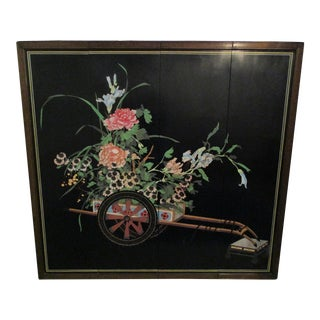 Chinoiserie Black Lacquered 4 Panel Wall Art -Flower Cart
