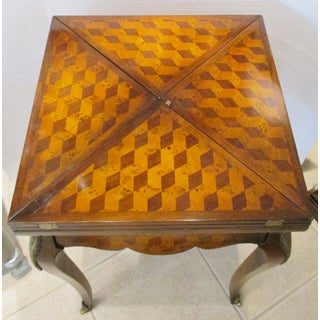 1980s Vintage Theodore Alexander French Parquetry Folding Handkerchief Envelope Games Table Preview