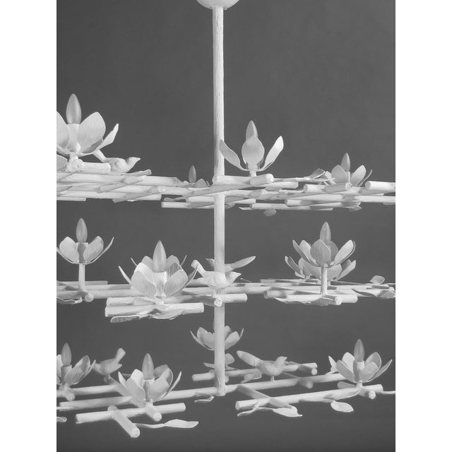 3 Layer Garden Plaster Chandelier With White Finish For Sale In New York - Image 6 of 7