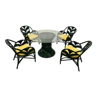 Mid Century Dining Bamboo Table and Chairs For Sale
