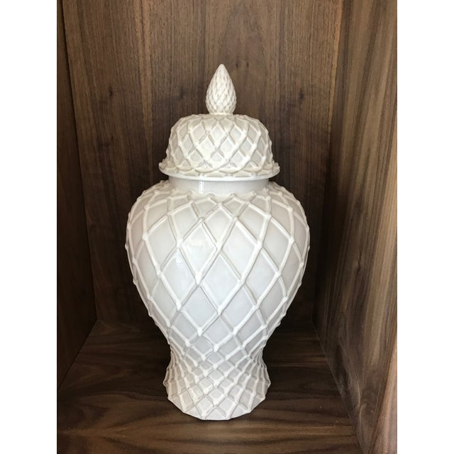 Asian Exquisite Blanc De Chine Lidded Vase With Lattice Design, Italy For Sale - Image 3 of 12