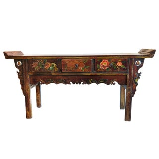 Vintage Chinese Hand-Painted Altar Table / Console For Sale