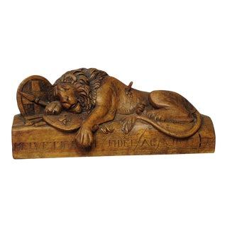 Antique Wooden Sculpture Of The Lion Of Lucerne For Sale
