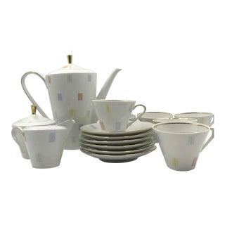 1950s Fine Bavarian Porcelain Tea Set - Set of 17 For Sale