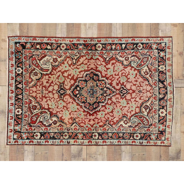Red Vintage Persian Mahal Rug - 4'1 x 6'3 For Sale - Image 8 of 8