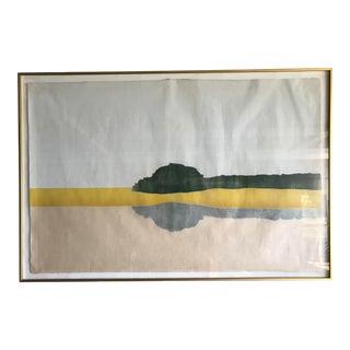 Vintage Mid-Century Landscape Reflection Lithograph Print For Sale
