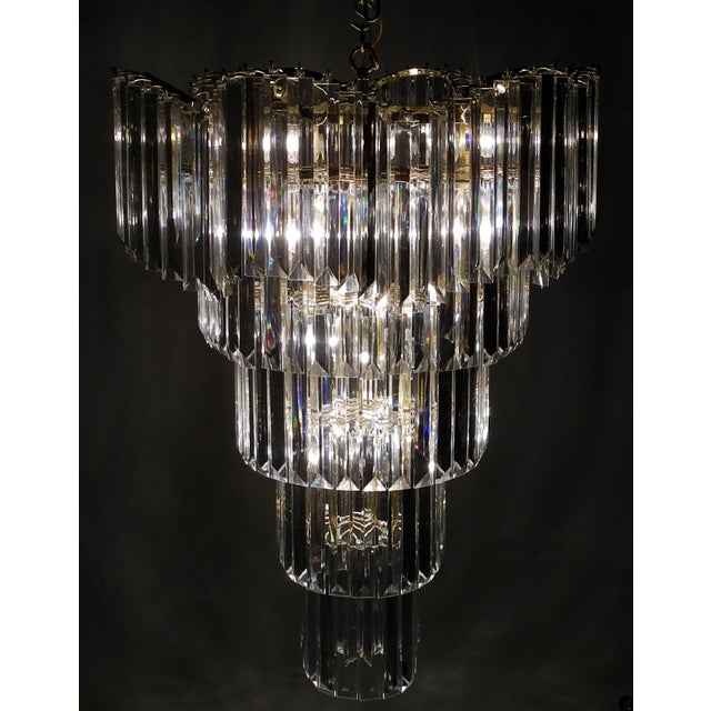 Art Deco Murano Style Lucite Waterfall Chandelier For Sale - Image 3 of 9