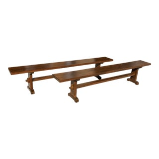 1900s Pair of French Solid Oak Monastery Trestle Benches For Sale
