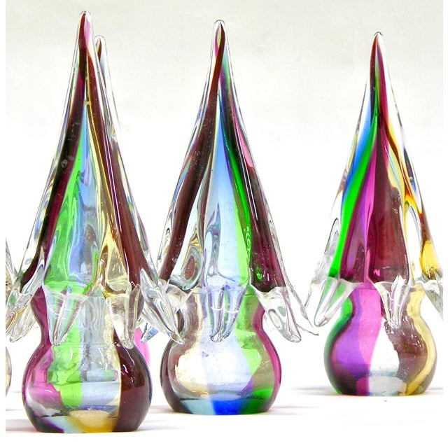 Contemporary 1980s Organic Italian Vintage Colorful Blown Murano Glass Trees Sculptures For Sale - Image 3 of 6