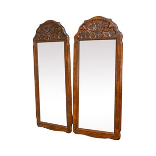 French Country Style Pair of Vintage Carved Oak Mirrors For Sale