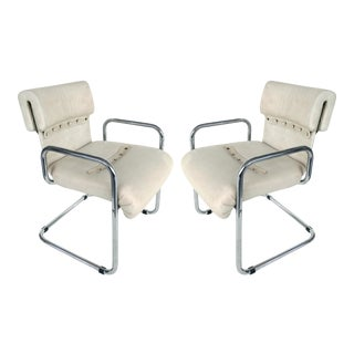 Mid-Century Modern Frank Mariani for Pace Chrome & Leather Chairs - a Pair For Sale