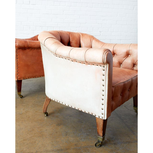 Pair of English Tufted Leather Chesterfield Club Chairs For Sale - Image 11 of 13