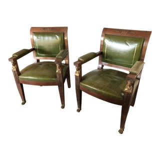Vintage Mid Century Neoclassical Revival Empire Style Brass Inlay Chairs- A Pair For Sale