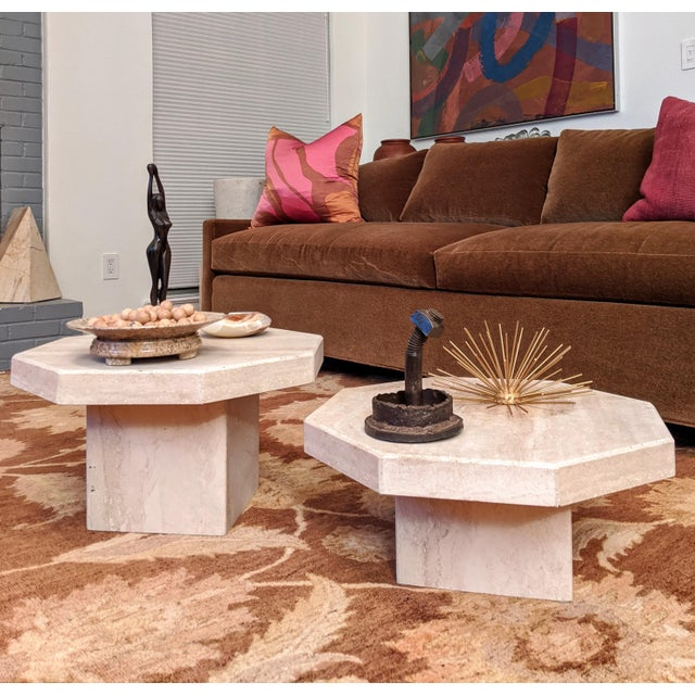 1970s Octagonal Travertine Low Tables - a Pair For Sale - Image 4 of 9