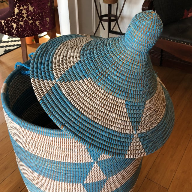 Blue Handwoven Geometric Basket For Sale - Image 5 of 8