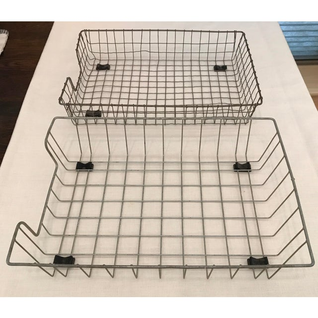Vintage Wire File Baskets - A Pair For Sale - Image 10 of 10
