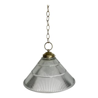 Vintage Ribbed Glass Pendant For Sale