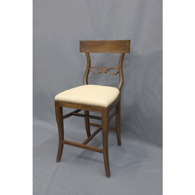 Traditional 1980s Vintage Raffia Covered Seat Counter Stool For Sale - Image 3 of 6