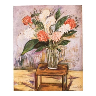 "1950s Maurice Utrillo, First Edition Period Lithograph ""Flower Still Life"" For Sale"