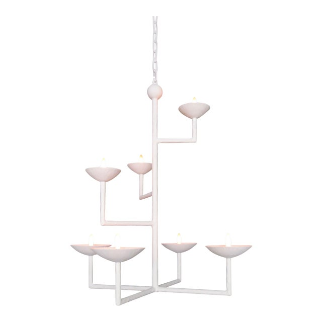 7 Cup Plaster Chandelier With Chain For Sale