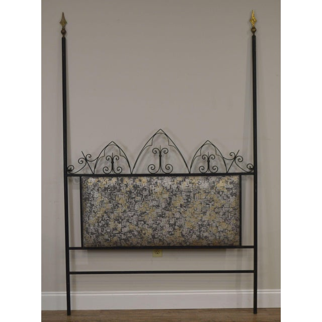 Hollywood Regency Hollywood Regency Mid Century Iron Full Size Poster Headboard For Sale - Image 3 of 13