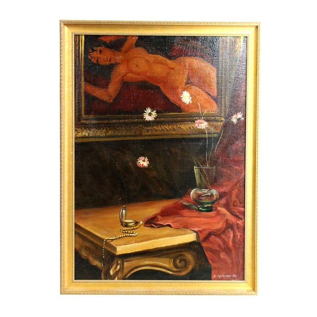 Signed Original Russian Oil Painting in Modigliani Style, 1991 For Sale In Los Angeles - Image 6 of 6