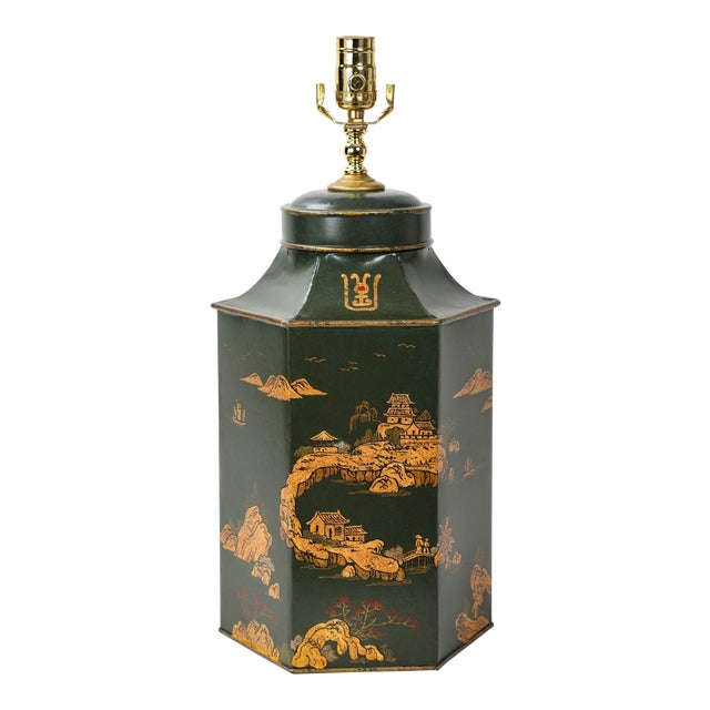 Vintage English Export Hexagonal Tea Caddy Hand-Painted Chinoiserie Landscape Lamp For Sale