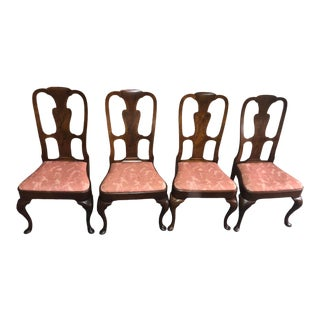 Vintage Set of Four Walnut Queen Anne Style Dining Chairs For Sale