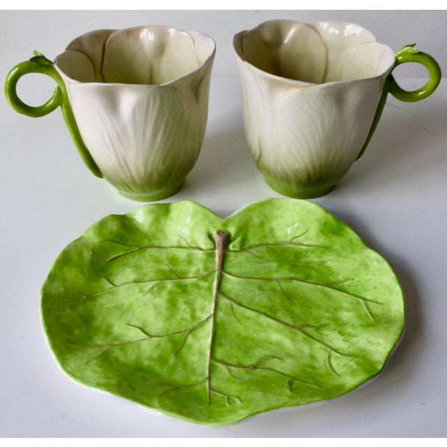Italian Leaf Dish & 2 Porcelain Flower Cups For Sale - Image 9 of 10