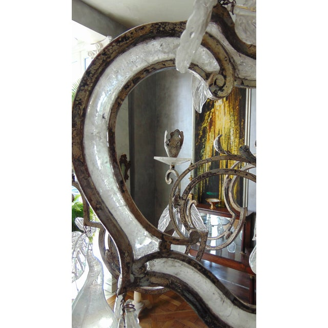 Crystal Large Silvered Iron and Rock Crystal, Eight-Arm Chandelier For Sale - Image 7 of 11