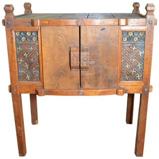 Indonesian Antique Wooden Dresser With Hand-Painted Carved Ornaments For Sale
