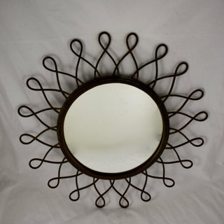 French Mid-Century Wrought Iron Looped Sunburst Wall Mirror Preview