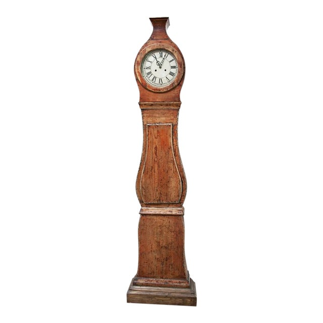 19th Century Painted Swedish Tall Case Clock For Sale